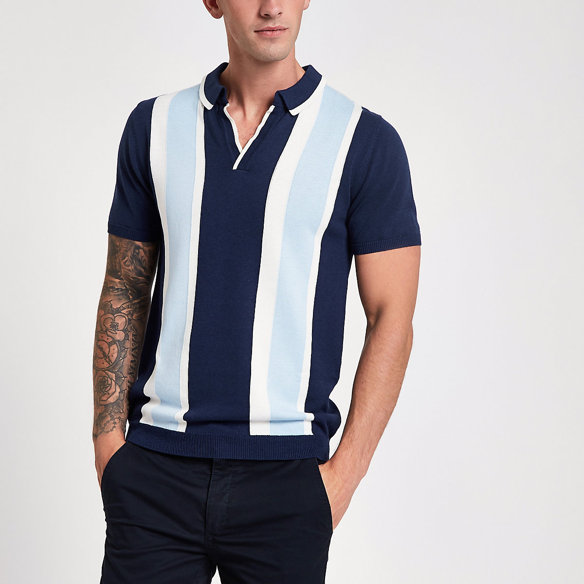 Blue stripe slim fit revere knit polo shirt