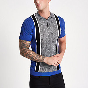 Blue blocked polo shirt