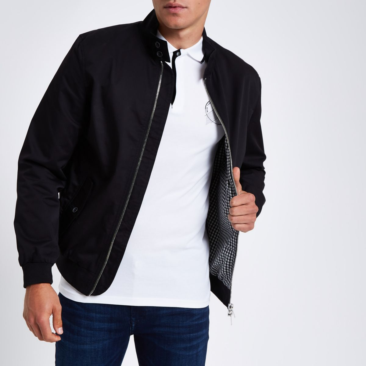 Black Embroidered Harrington Jacket by River Island