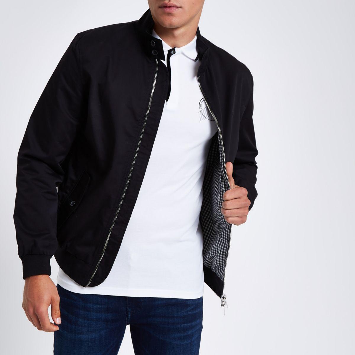 Black embroidered harrington jacket