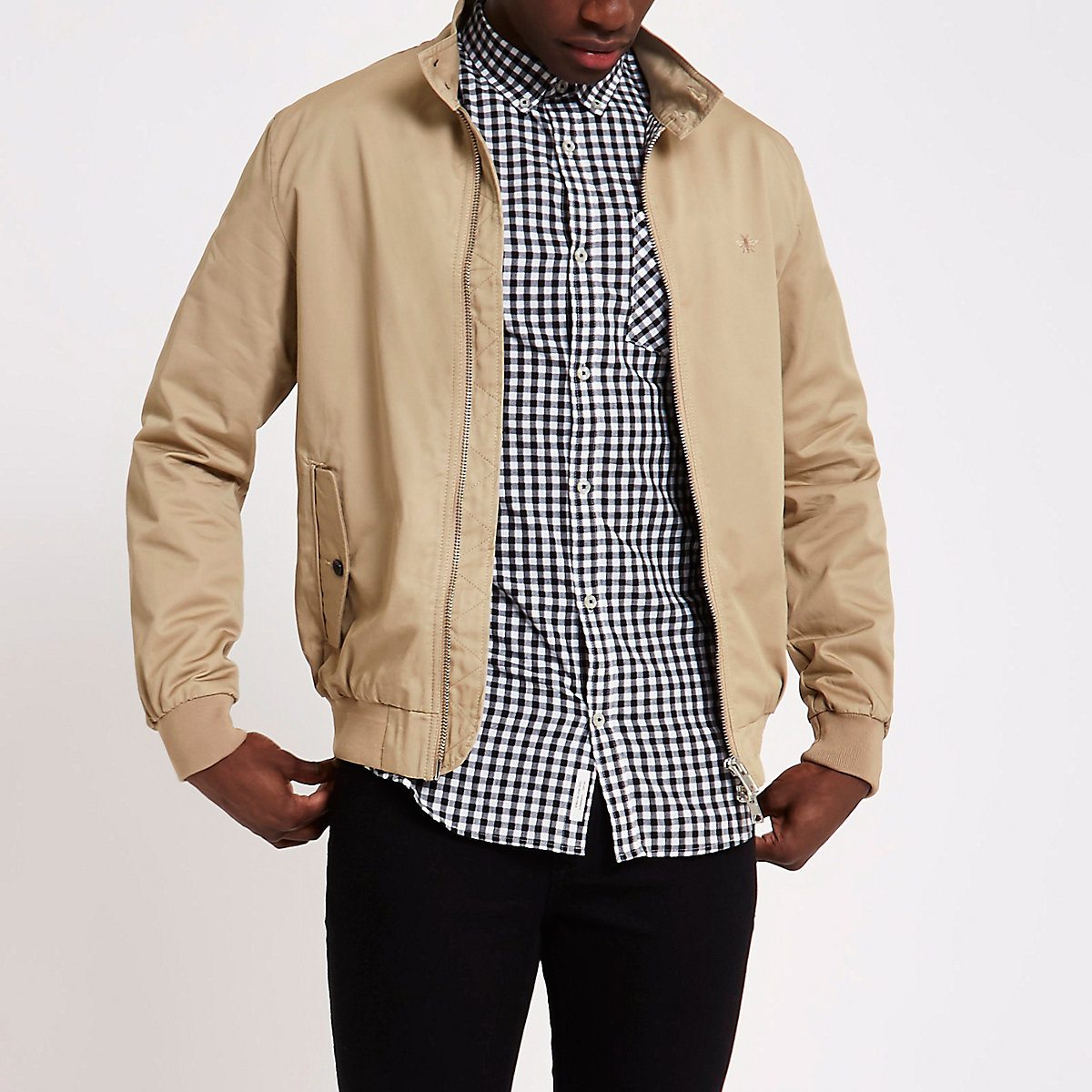 Stone embroidered harrington jacket
