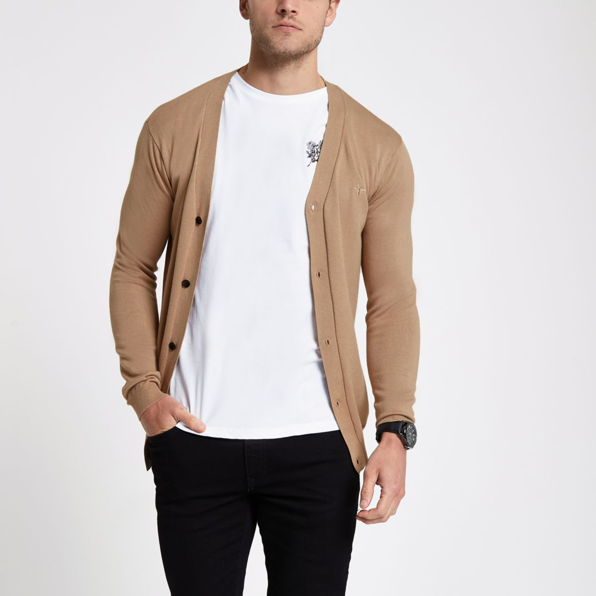Brown V neck button-up cardigan