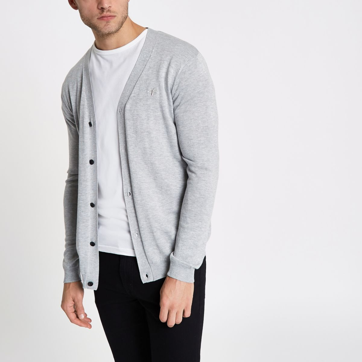 Grey V neck button-up cardigan