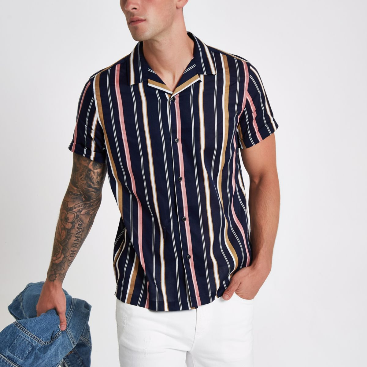 Navy stripe revere short sleeve shirt
