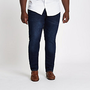 Big and Tall – Dunkelblaue Skinny Jeans