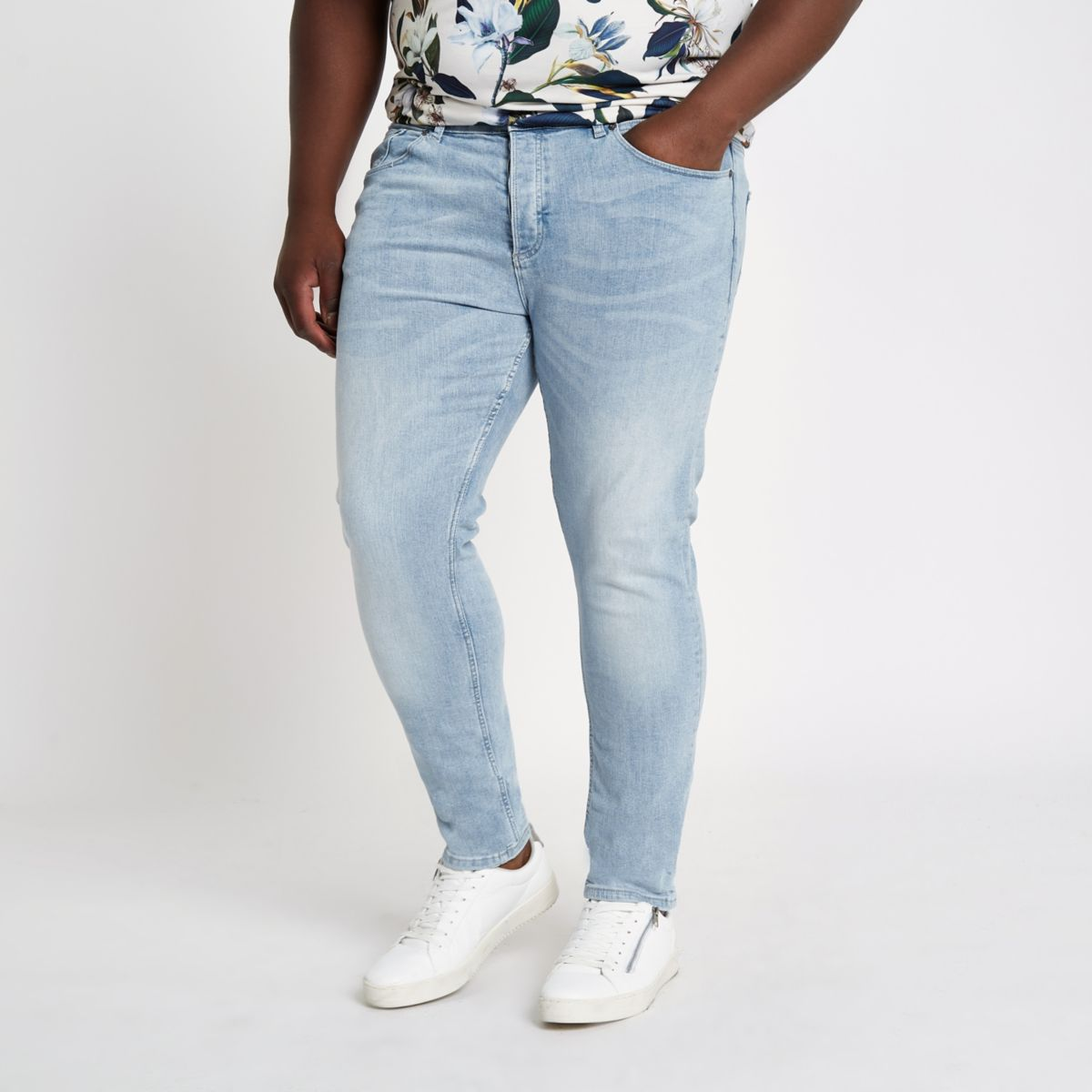 Big & Tall – Jean skinny bleu clair