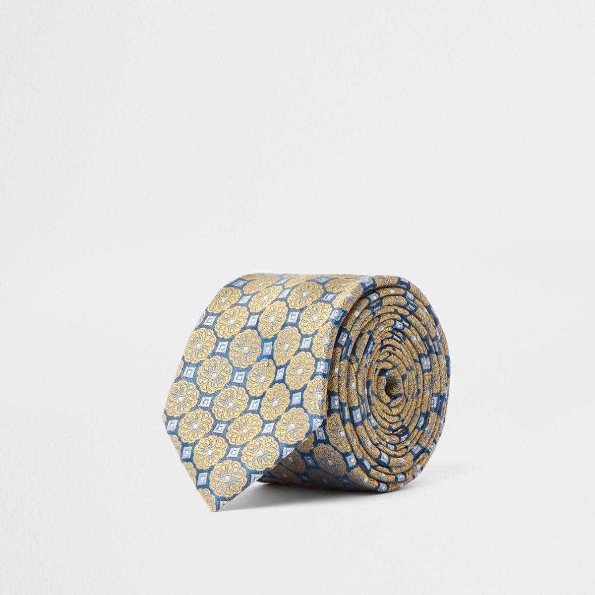 Blue daisy tile print silk tie