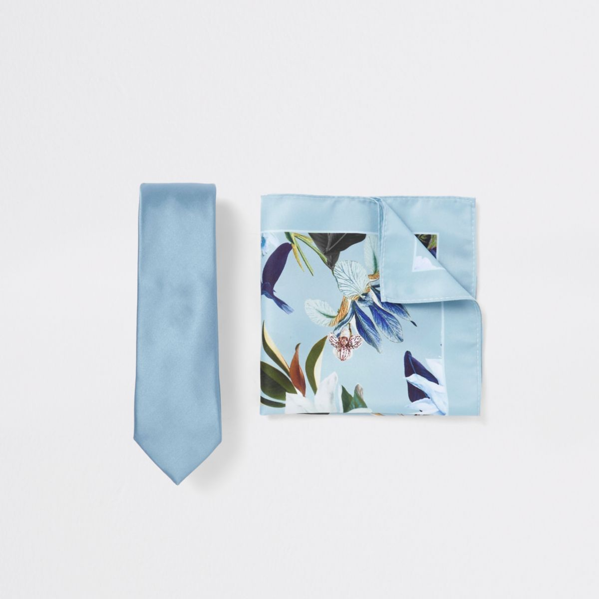 Blue tie and floral handkerchief set