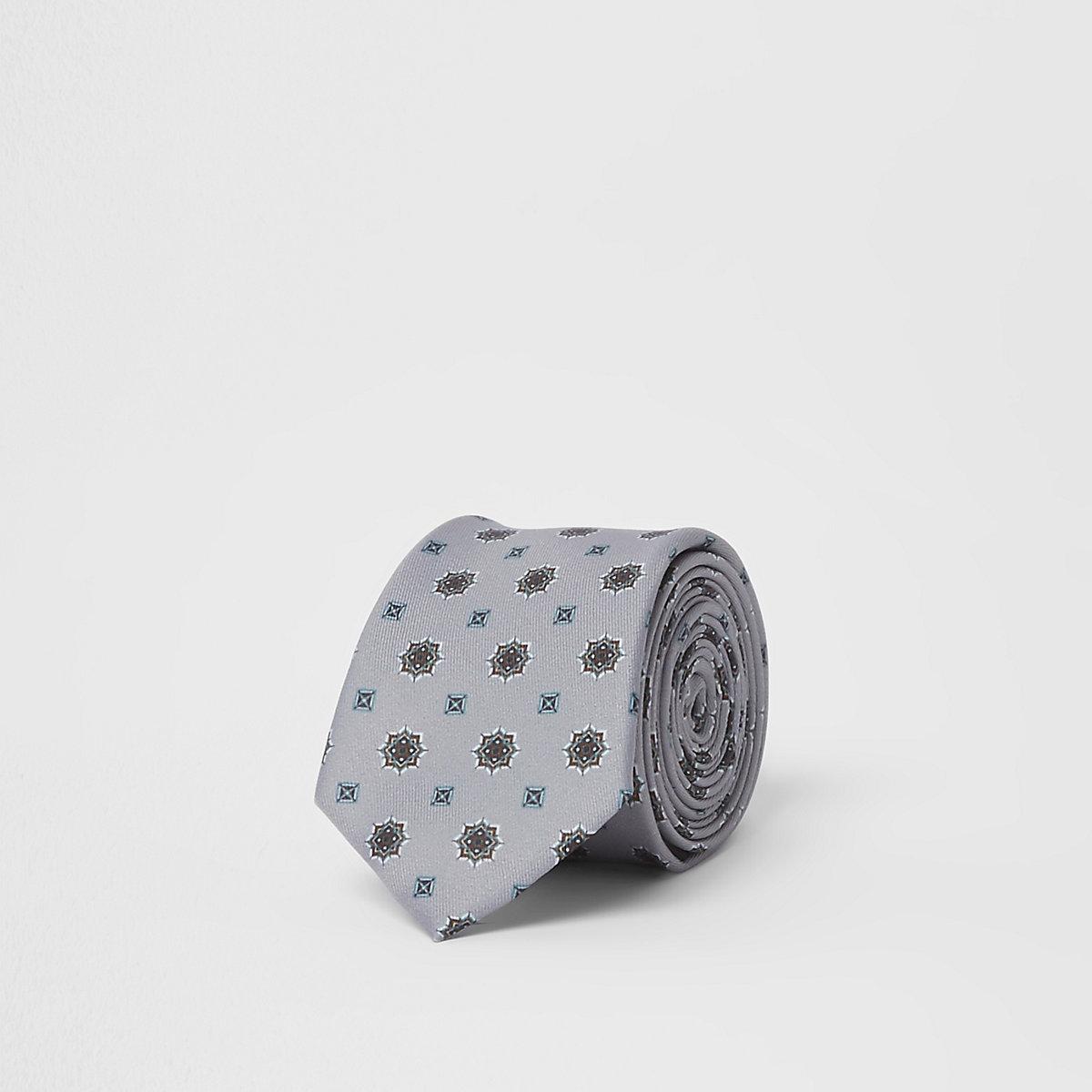 Grey tile print tie