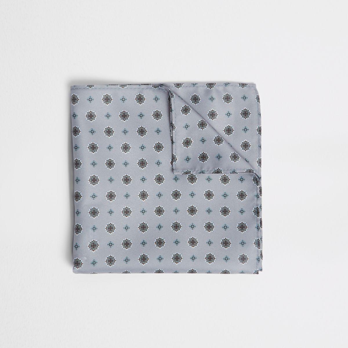 Grey print pocket square