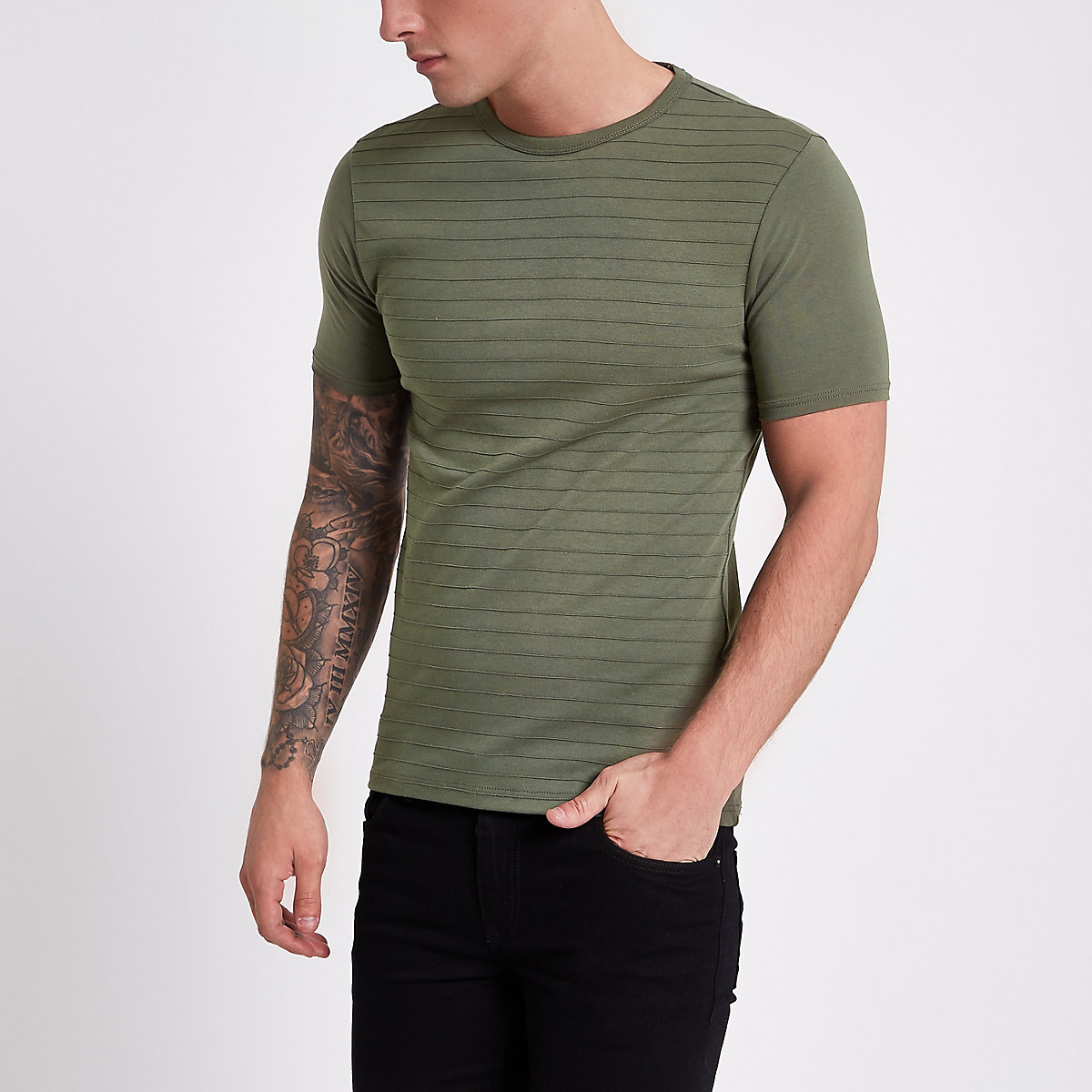 Khaki green short sleeve muscle fit T-shirt