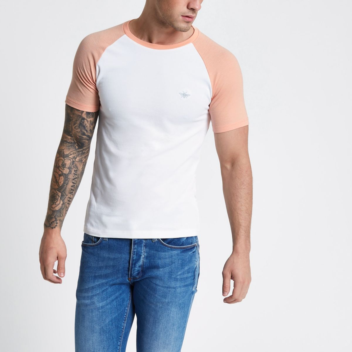 White and pink pique muscle raglan T-shirt