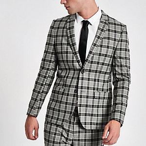 Blazer skinny habillé à carreaux gris