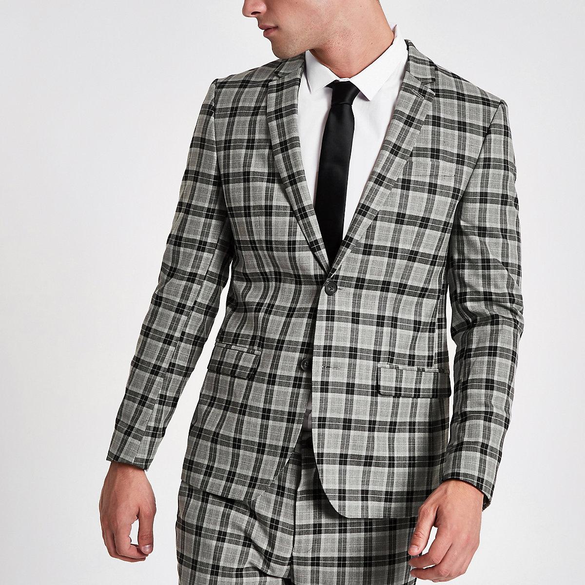 Grey check skinny fit smart blazer