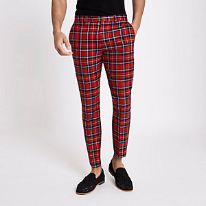 Red tartan skinny cropped trousers