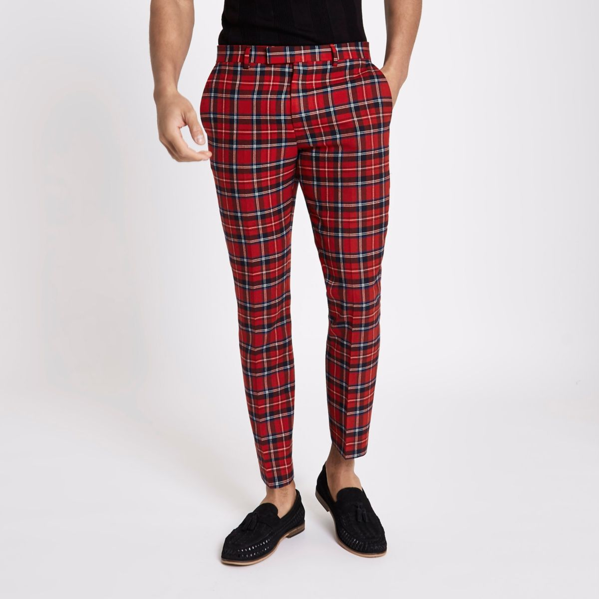 Red plaid skinny cropped pants