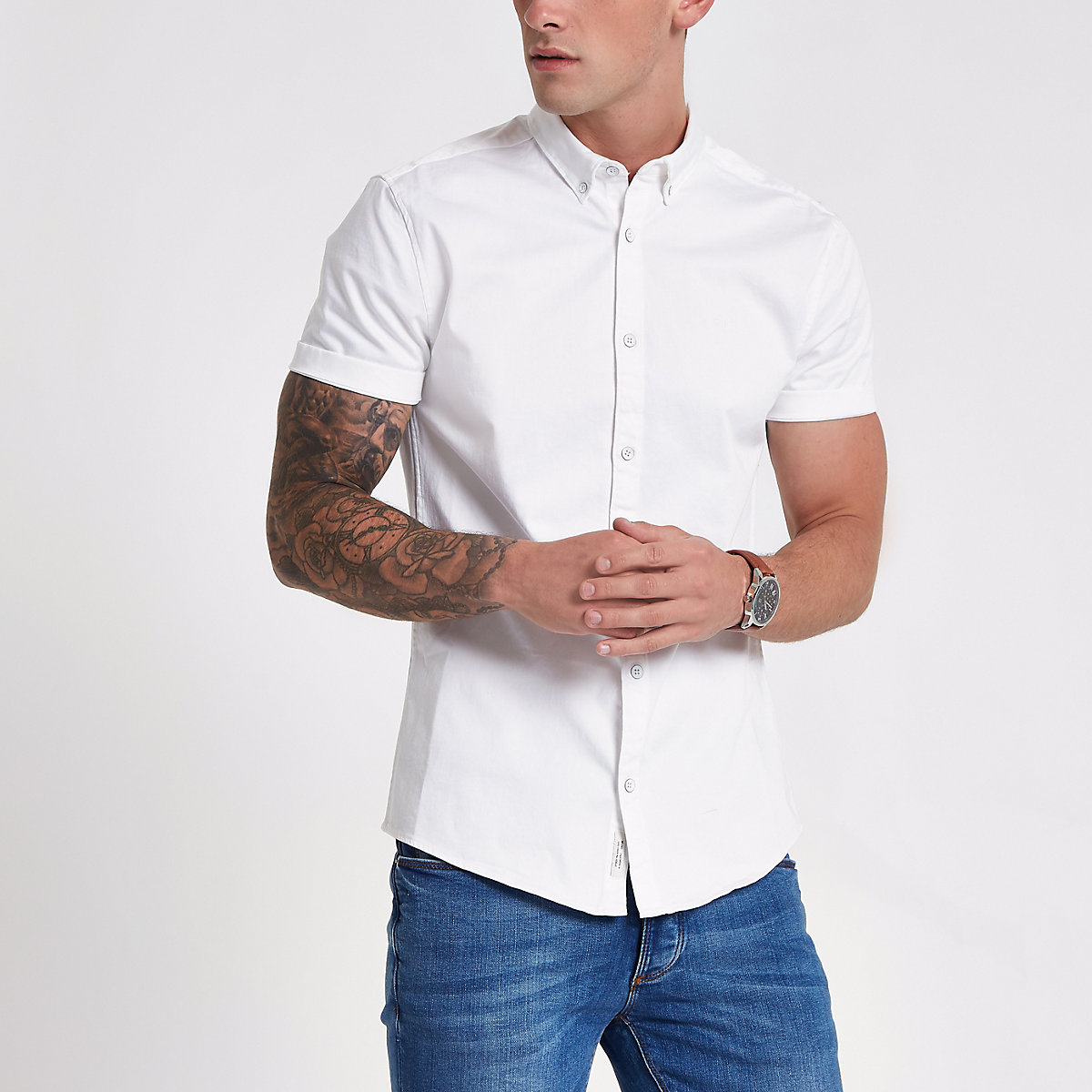 White short sleeve muscle fit denim shirt