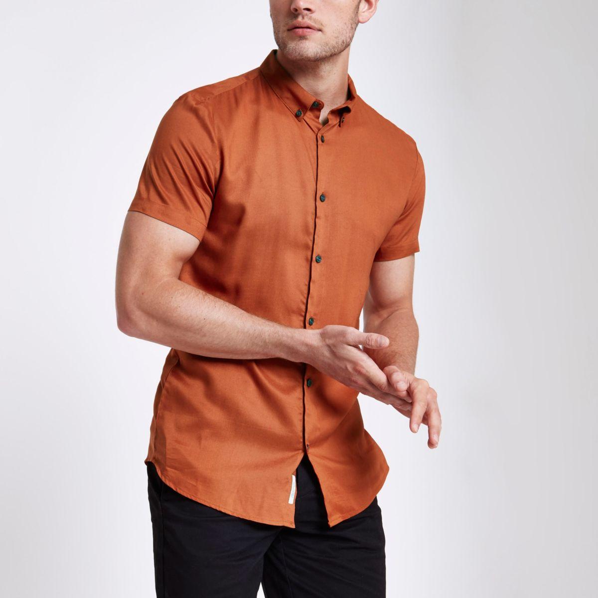 Orange slim fit short sleeve shirt