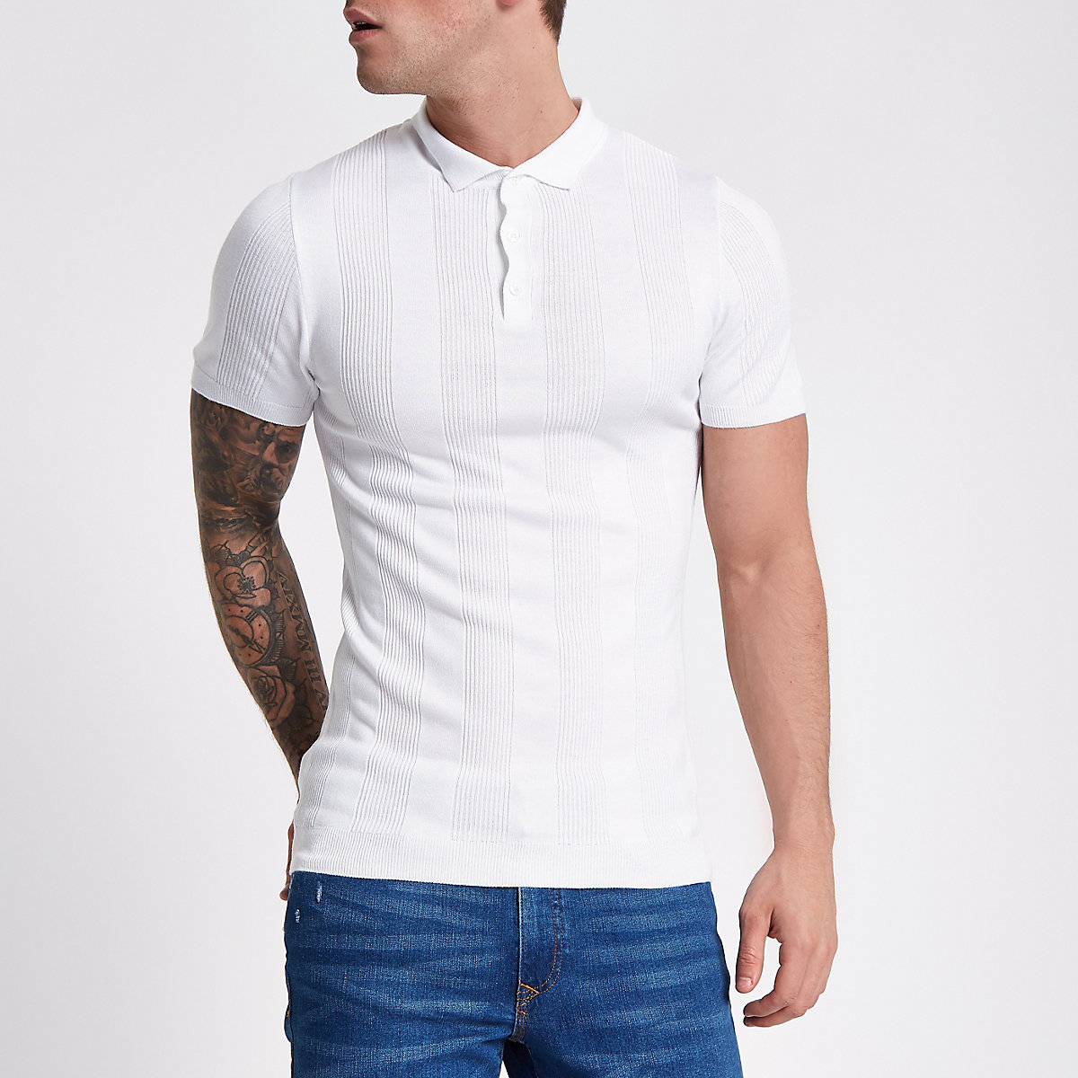 White rib short sleeve muscle polo shirt