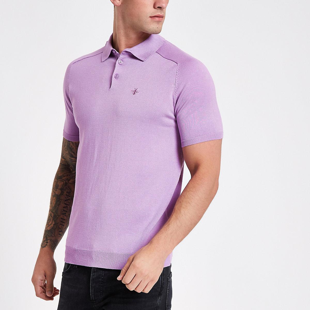 Lilac slim fit wasp knit polo shirt