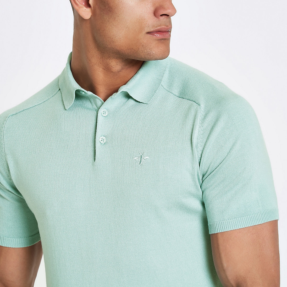 Mint green slim fit wasp knit polo shirt