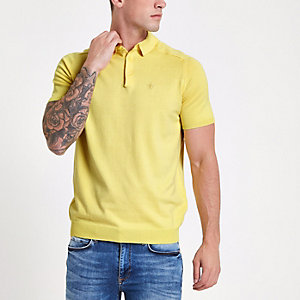 Yellow slim fit wasp knit polo shirt