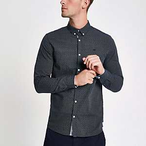 Navy textured long sleeve shirt