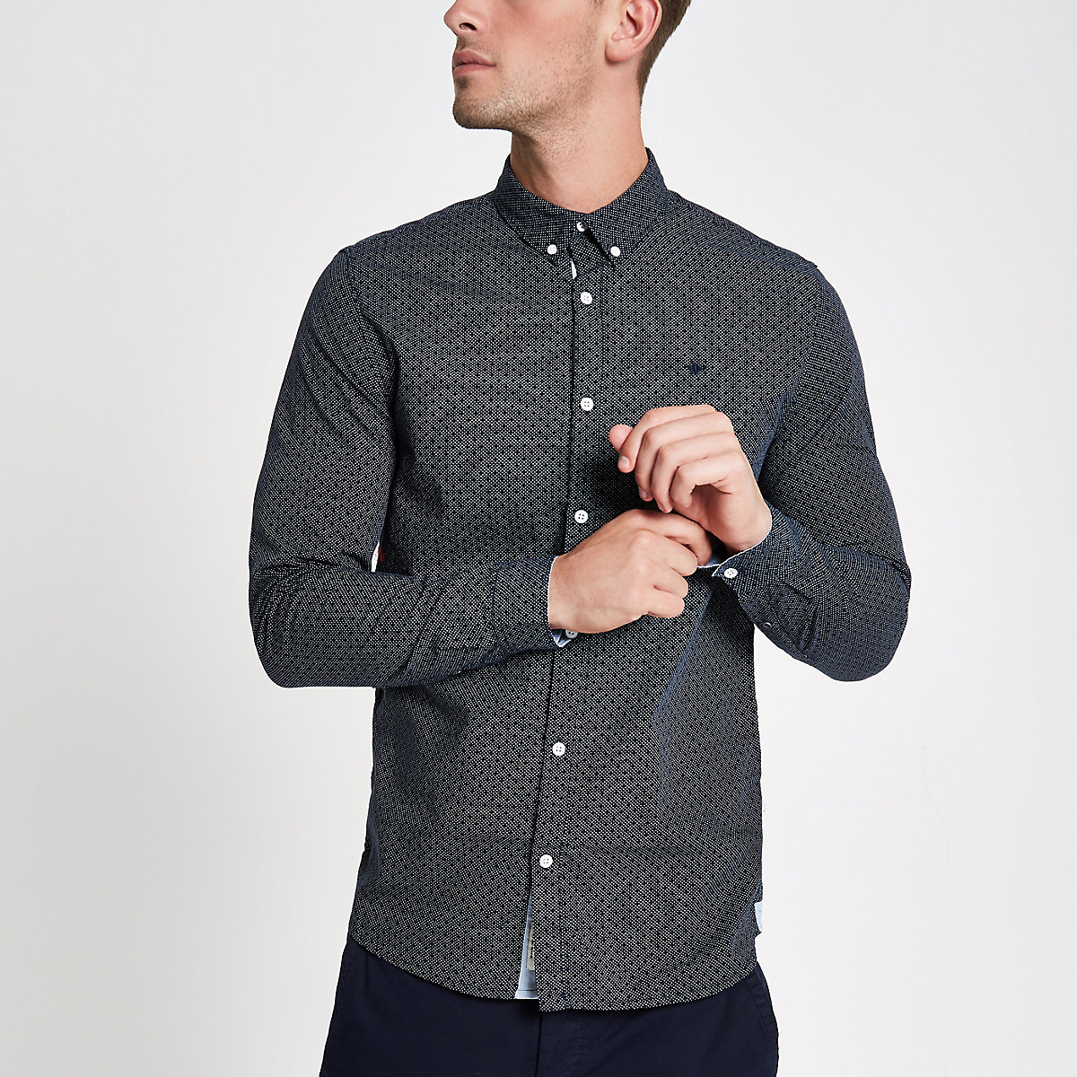 Navy textured long sleeve shirt