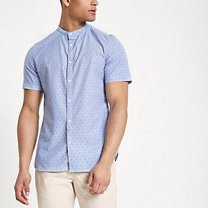 Blauw slim-fit overhemd zonder kraag met stippenprint