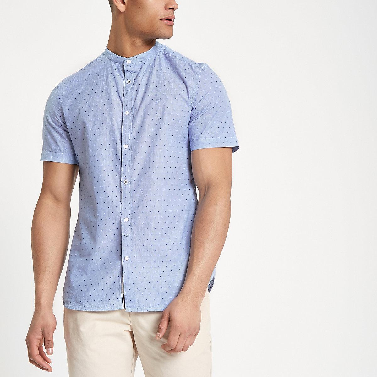 Blue spot print grandad slim fit shirt