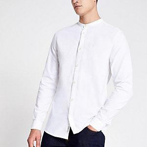 Weißes Grandad-Oxfordhemd mit Stickerei