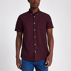 Dark red short sleeve Oxford shirt