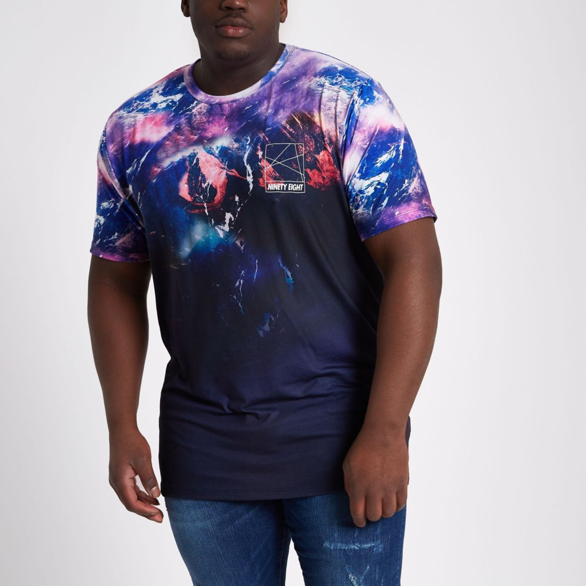 Big and Tall purple mountain print T-shirt
