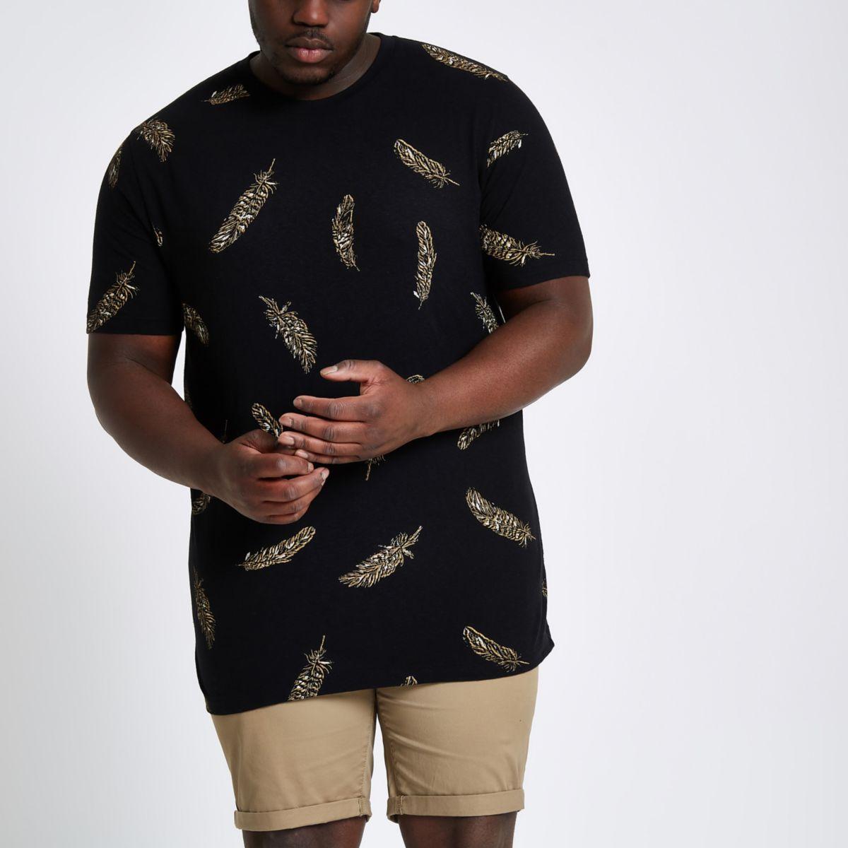 Big & Tall – T-shirt à imprimé plumes noir