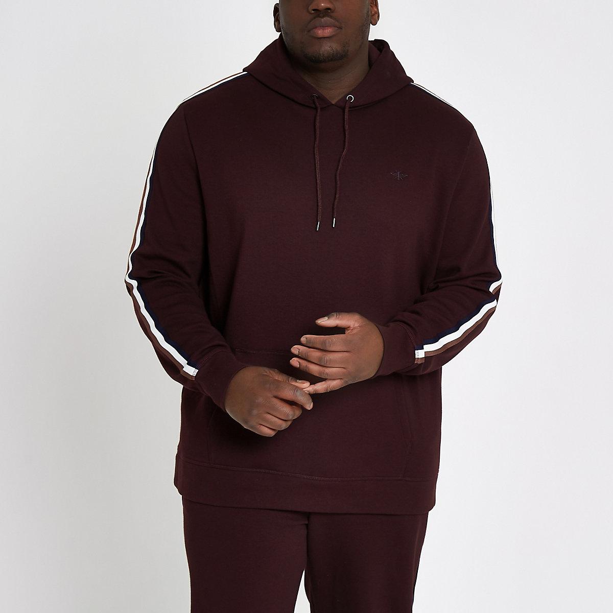 Big & Tall – Dunkelroter Slim Fit Hoodie