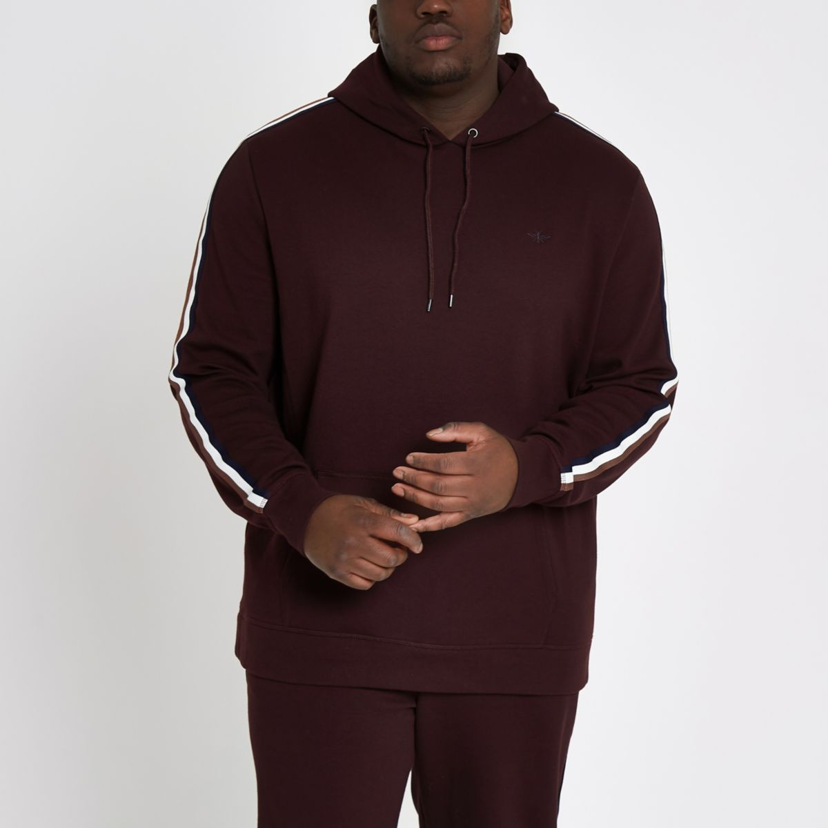 Big and Tall dark red slim fit hoodie