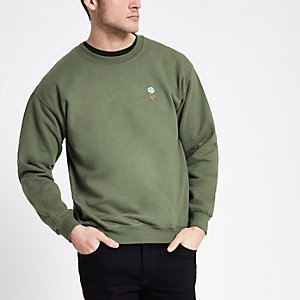 Khaki green rose embroidery print sweatshirt