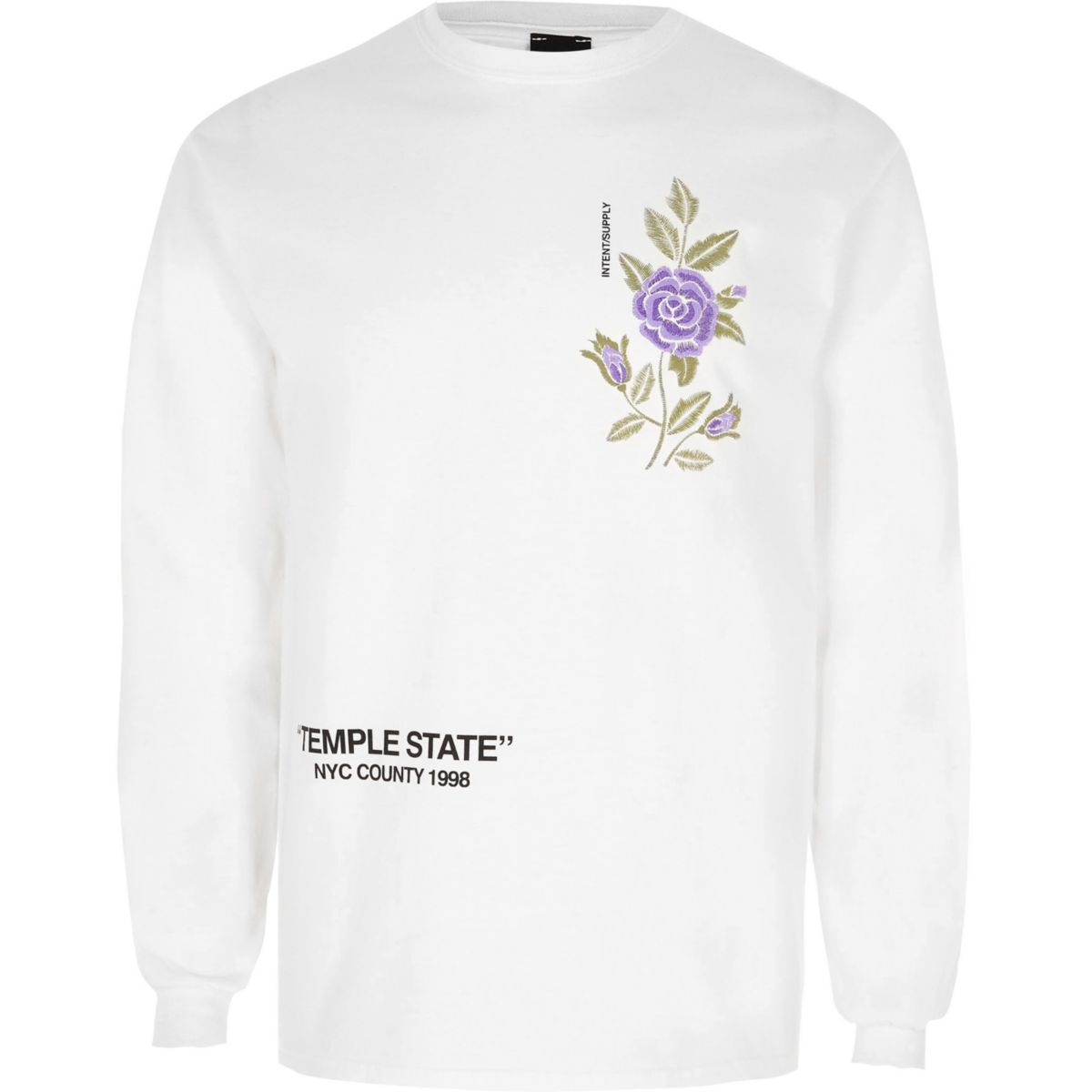 White floral embroidery print long sleeve top