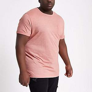 Big and Tall - Roze gemêleerd aansluitend T-shirt