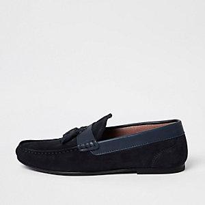 Navy blue suede tassel loafers