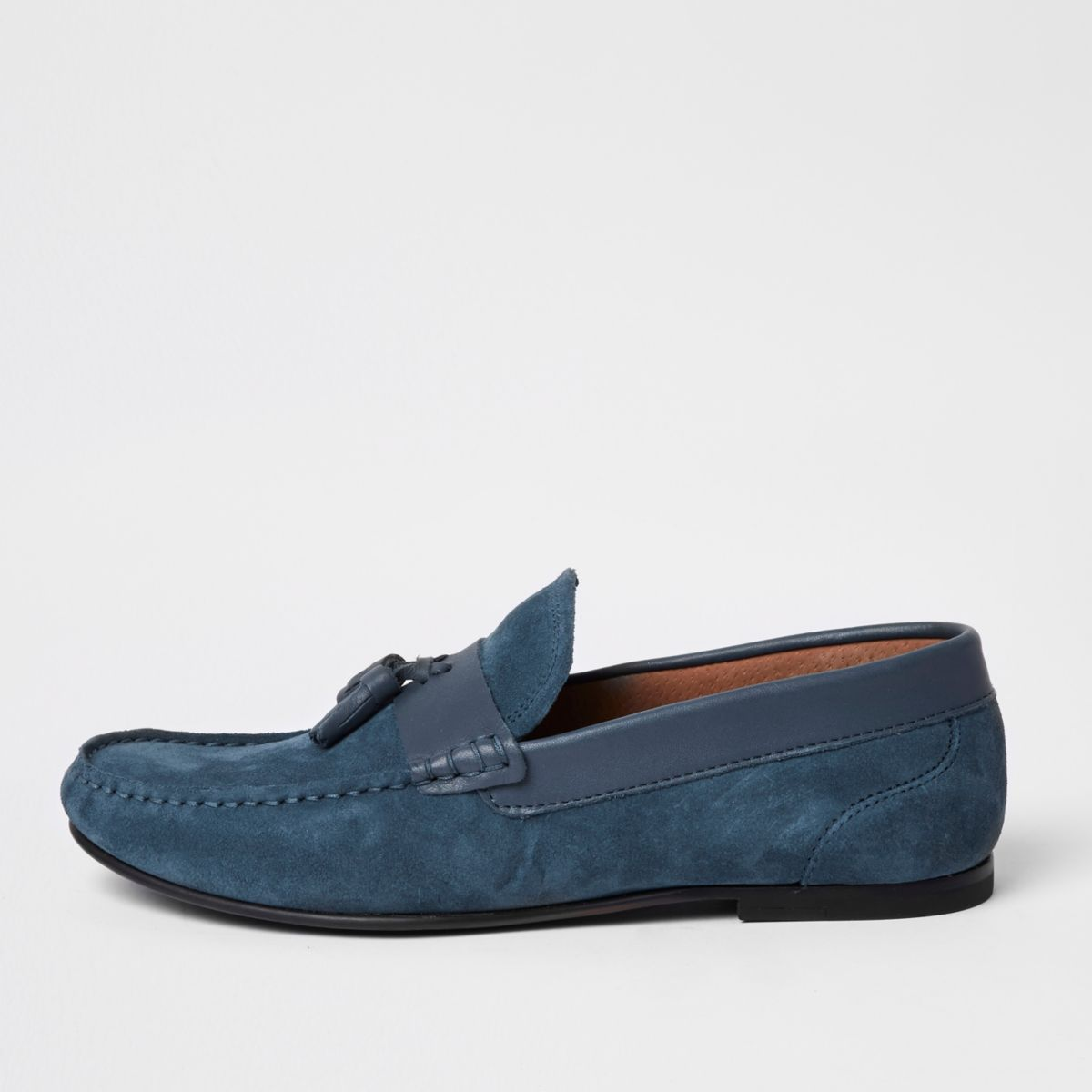 Blue suede tassel loafers