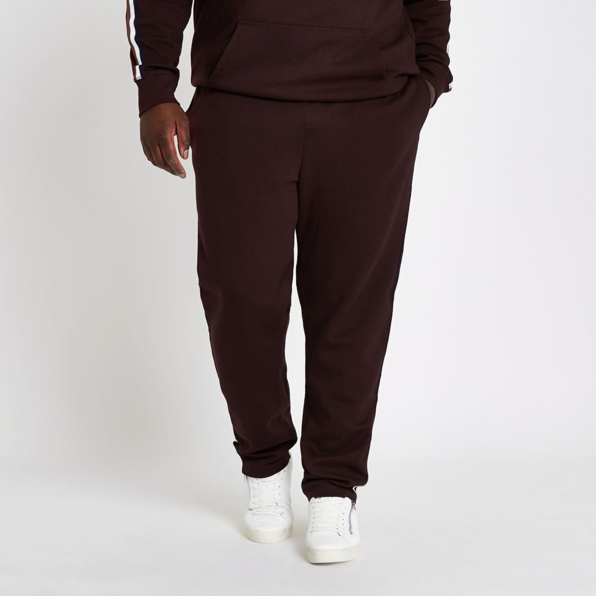 Big and Tall dark red slim fit joggers