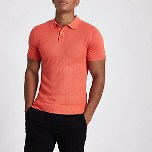 Oranges, strukturiertes Muscle Fit Poloshirt