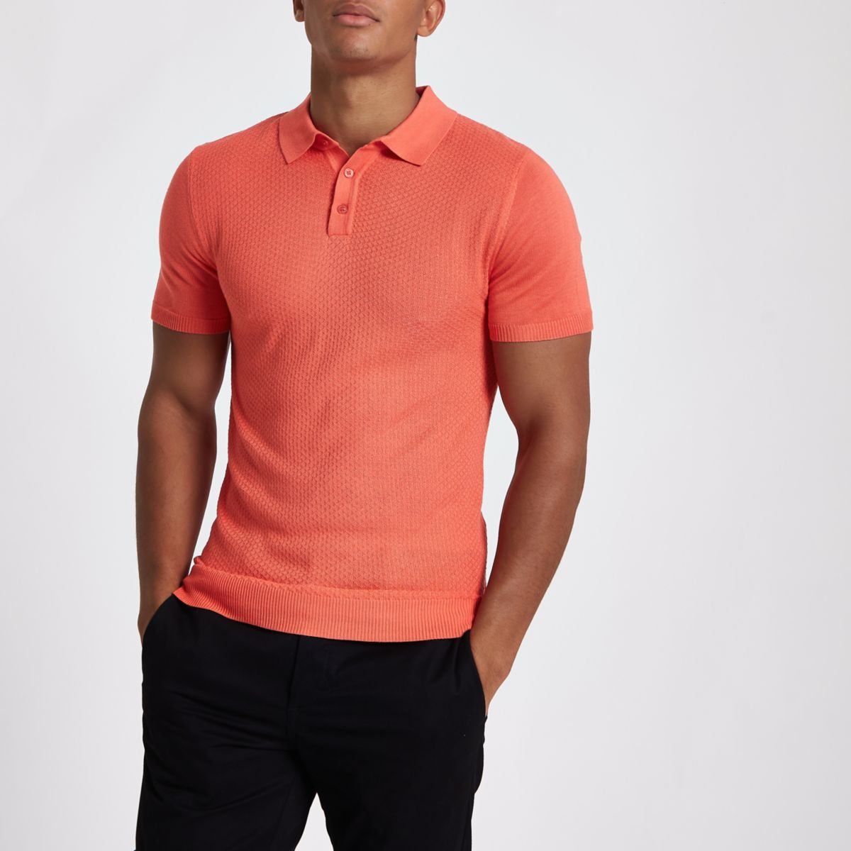 Orange muscle fit textured polo shirt