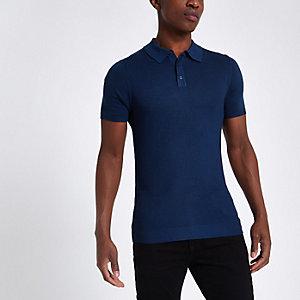 Blaues, strukturiertes Muscle Fit Poloshirt