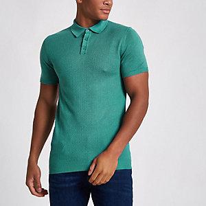 Grünes, strukturiertes Muscle Fit Poloshirt