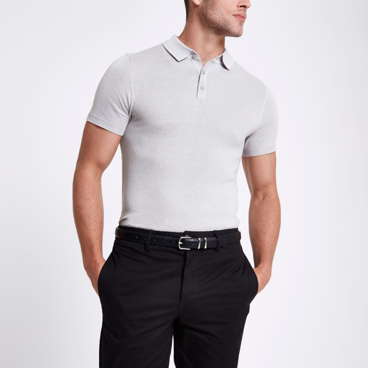 Light grey textured muscle fit polo shirt - Polo Shirts - men