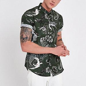 Kaki slim-fit overhemd met hijskraan en korte mouwen