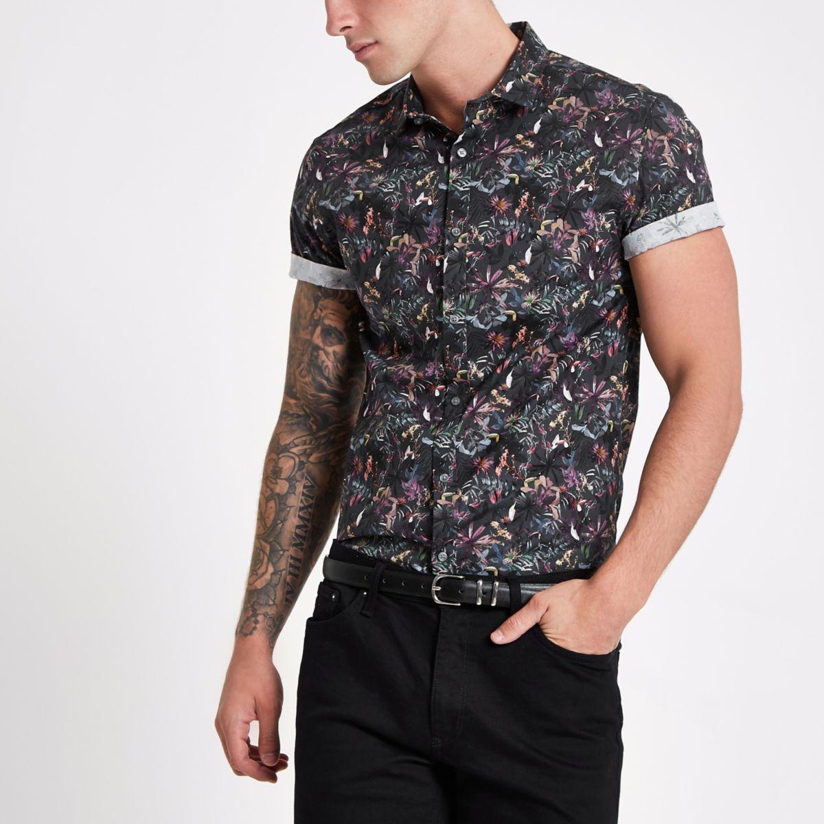 Black muscle fit floral shirt