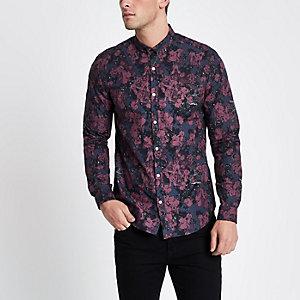 Langärmliges Slim Fit Hemd in Bordeaux